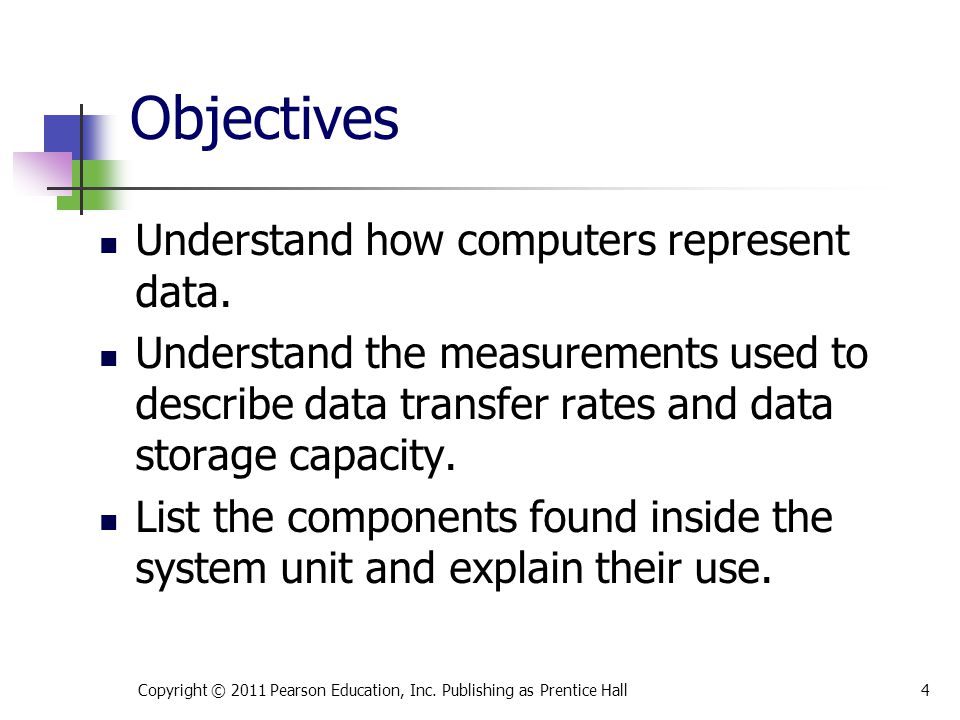 Objectives Understand how computers represent data.