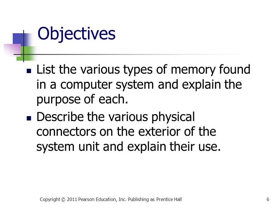 * 07/16/96. Objectives. List the various types of memory found in a computer system and explain the purpose of each.