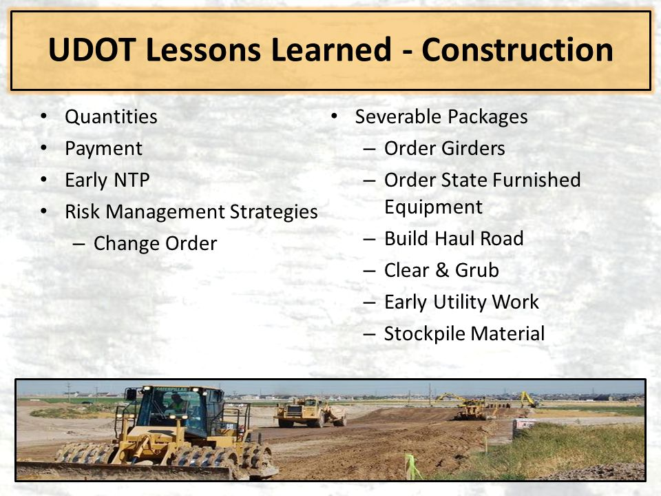UDOT Lessons Learned - Construction