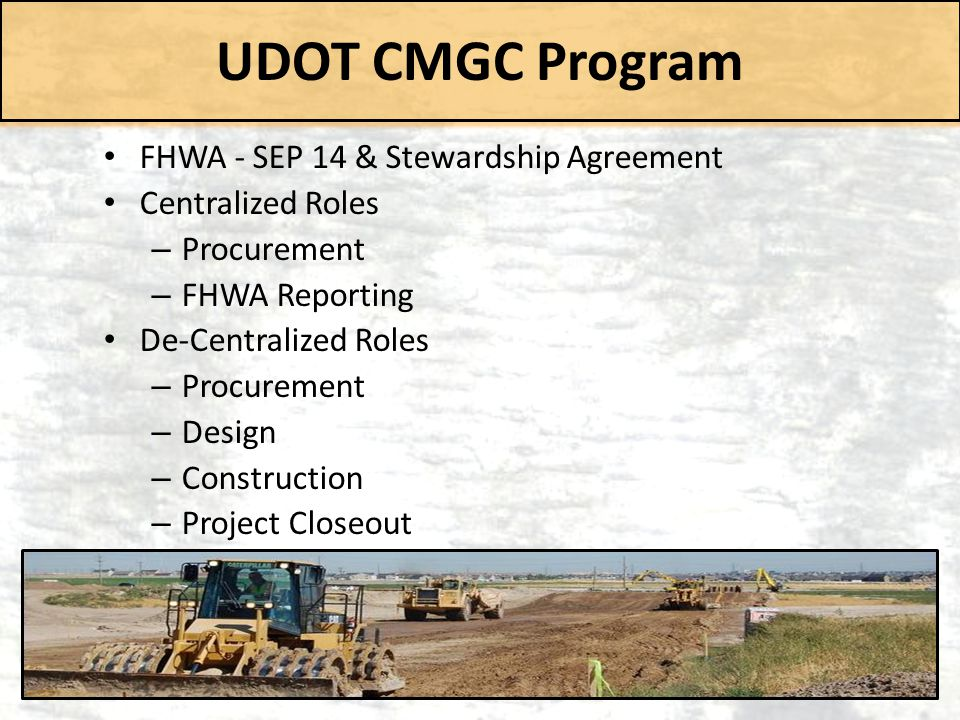 UDOT CMGC Program FHWA - SEP 14 & Stewardship Agreement