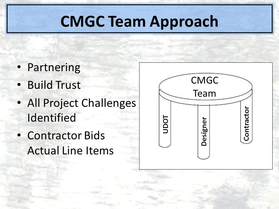 CMGC Team Approach Partnering Build Trust