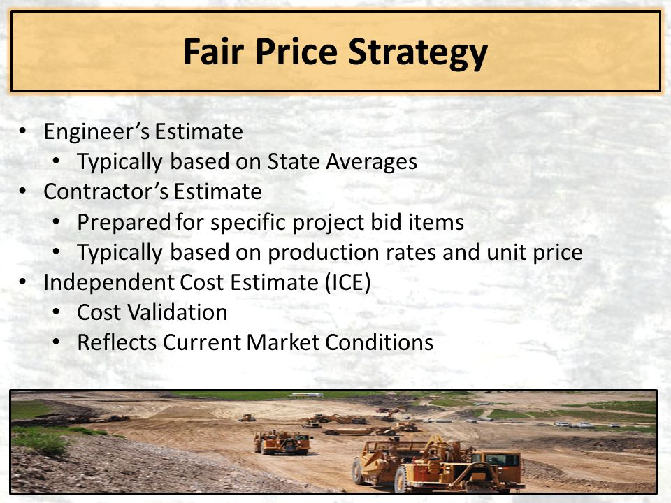 Fair Price Strategy Engineer's Estimate