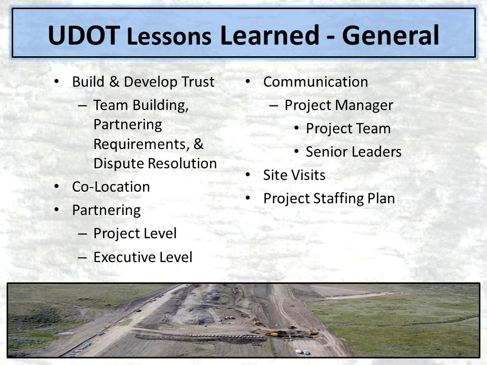 UDOT Lessons Learned - General
