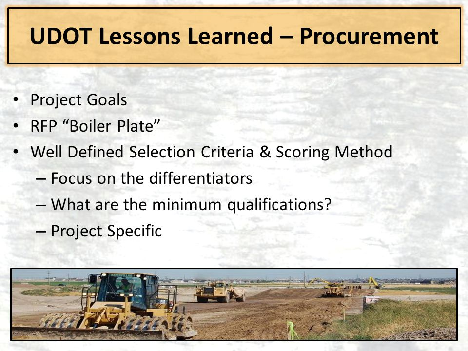 UDOT Lessons Learned – Procurement