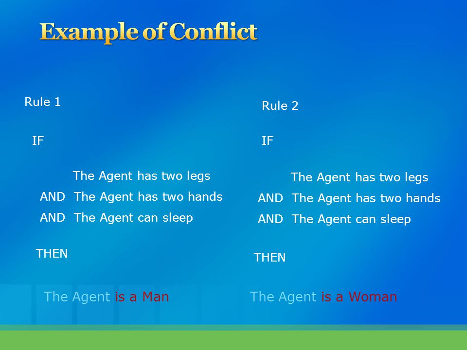 Example of Conflict The Agent is a Man The Agent is a Woman Rule 1