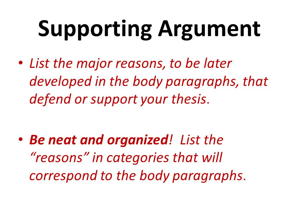 Supporting Argument List the major reasons, to be later developed in the body paragraphs, that defend or support your thesis.