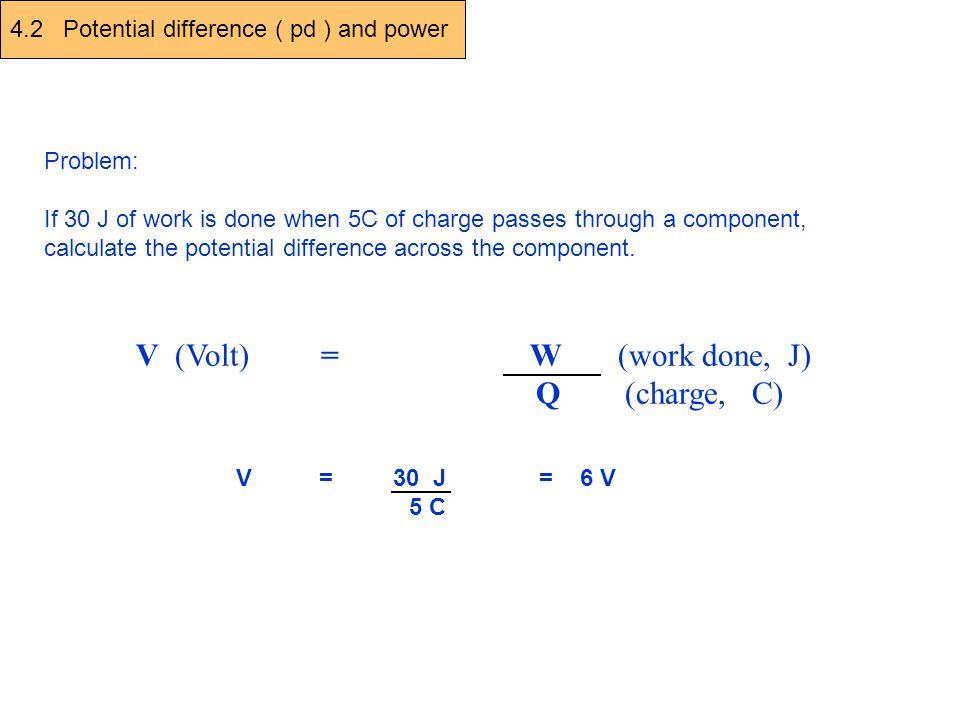 V (Volt) = W (work done, J) Q (charge, C)