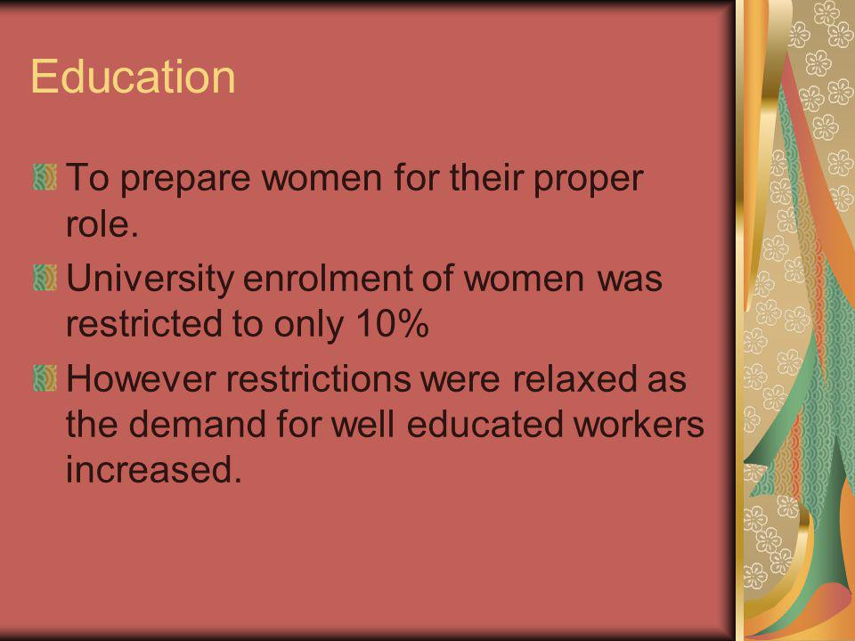 Education To prepare women for their proper role.