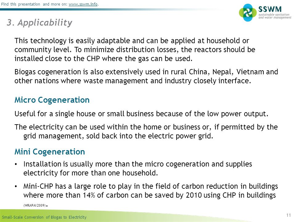 3. Applicability Micro Cogeneration Mini Cogeneration