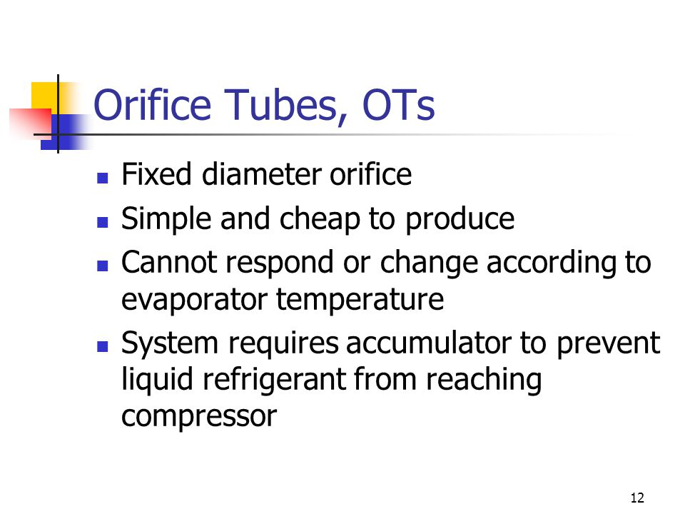 Orifice Tubes, OTs Fixed diameter orifice Simple and cheap to produce