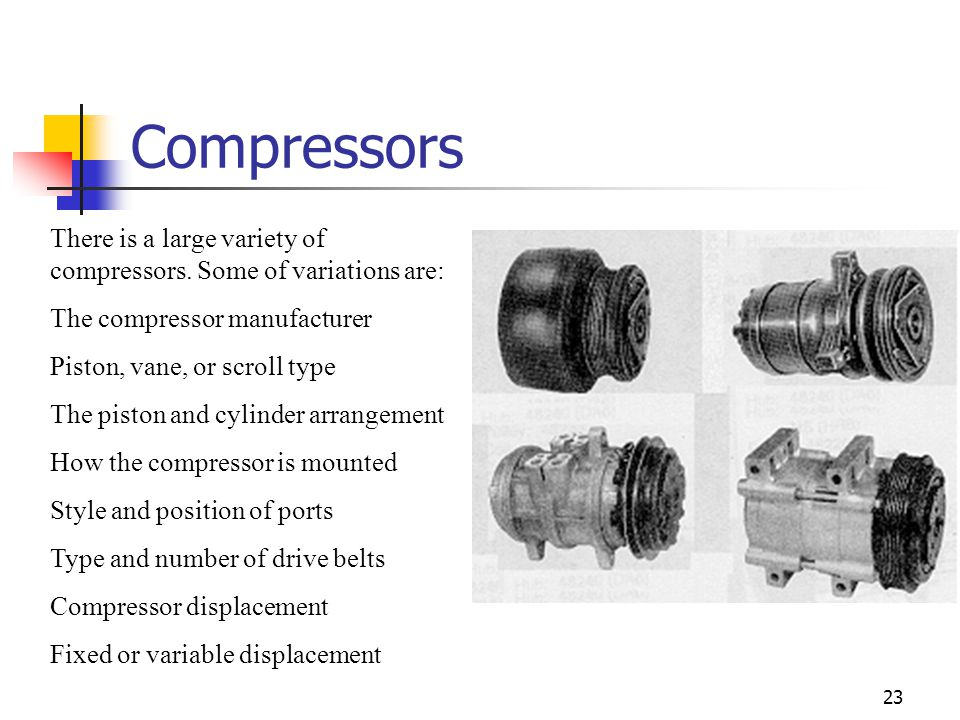 Compressors There is a large variety of compressors. Some of variations are: The compressor manufacturer.