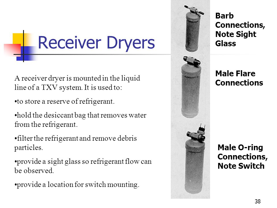 Receiver Dryers Barb Connections, Note Sight Glass