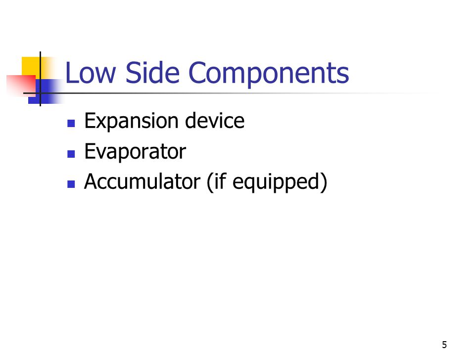 Low Side Components Expansion device Evaporator