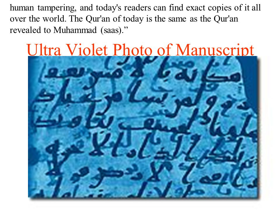 Ultra Violet Photo of Manuscript