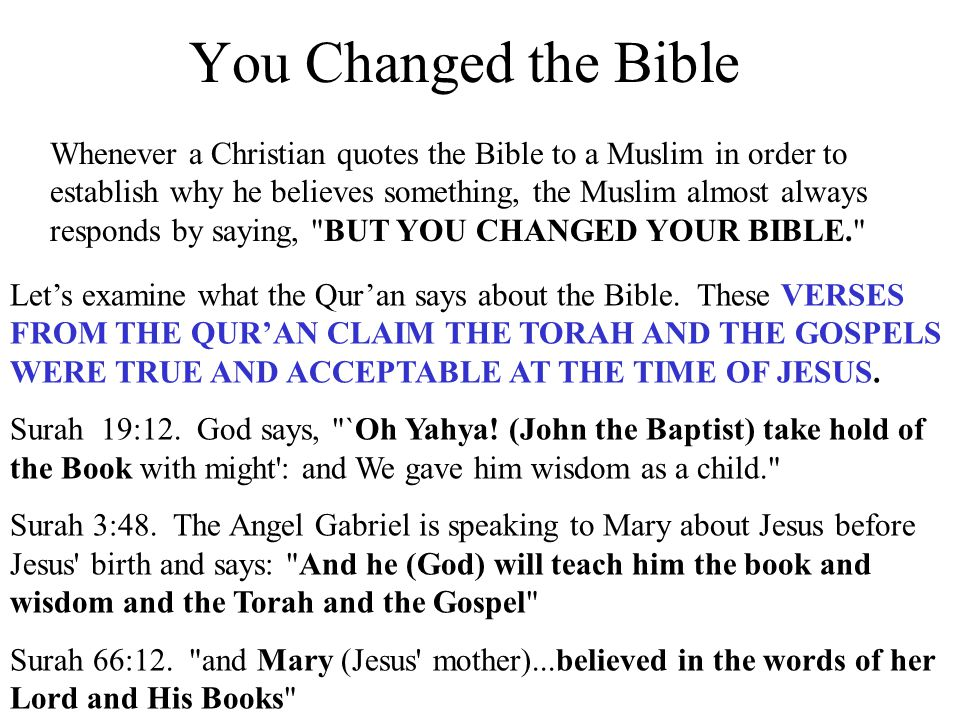 You Changed the Bible