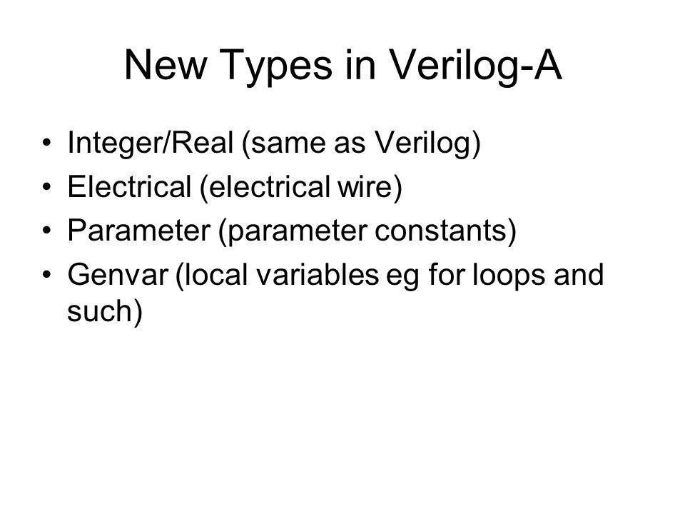 New Types in Verilog-A Integer/Real (same as Verilog)