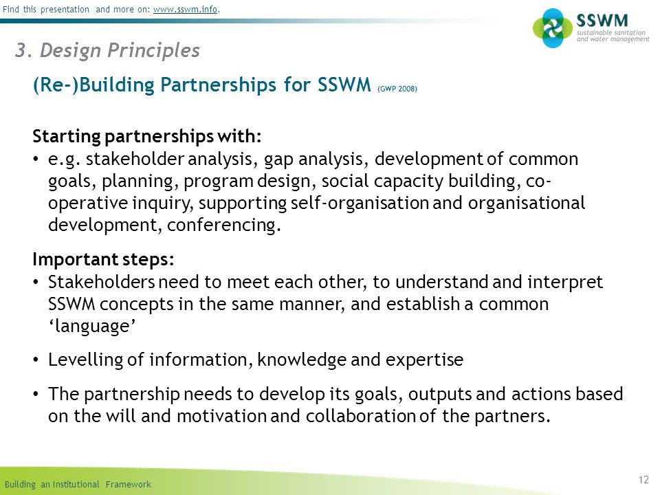 (Re-)Building Partnerships for SSWM (GWP 2008)