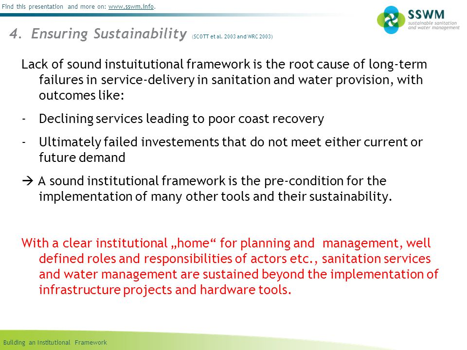 4. Ensuring Sustainability (SCOTT et al. 2003 and WRC 2003)