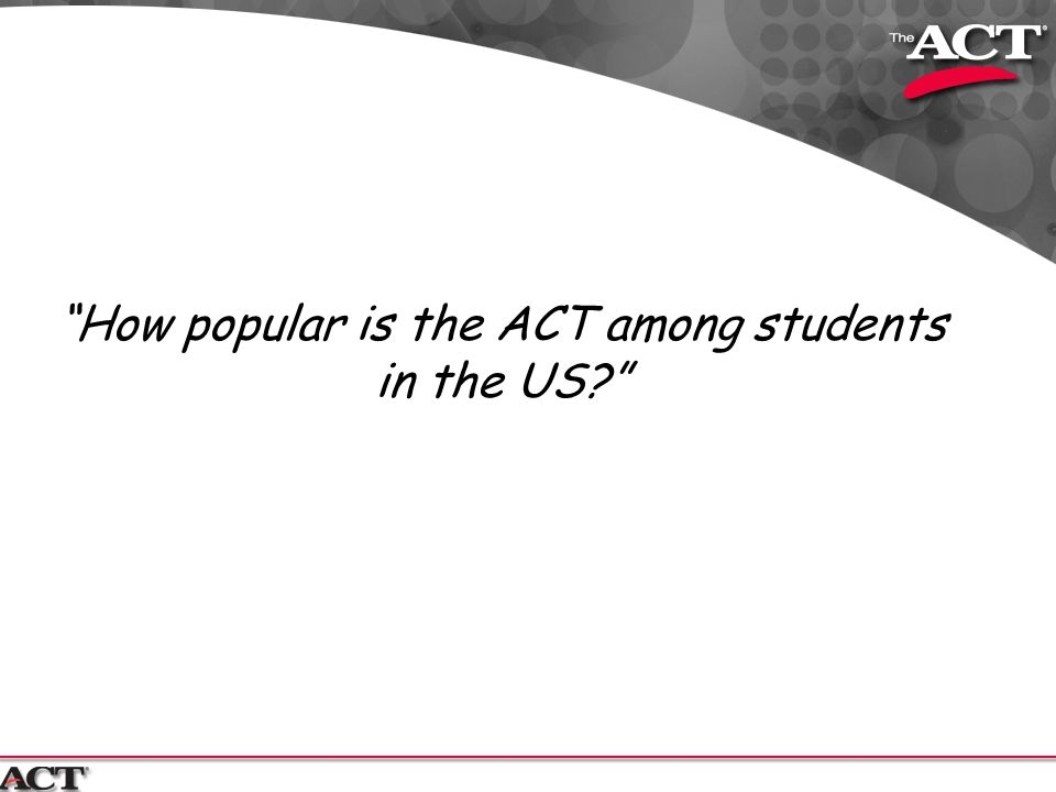 How popular is the ACT among students in the US