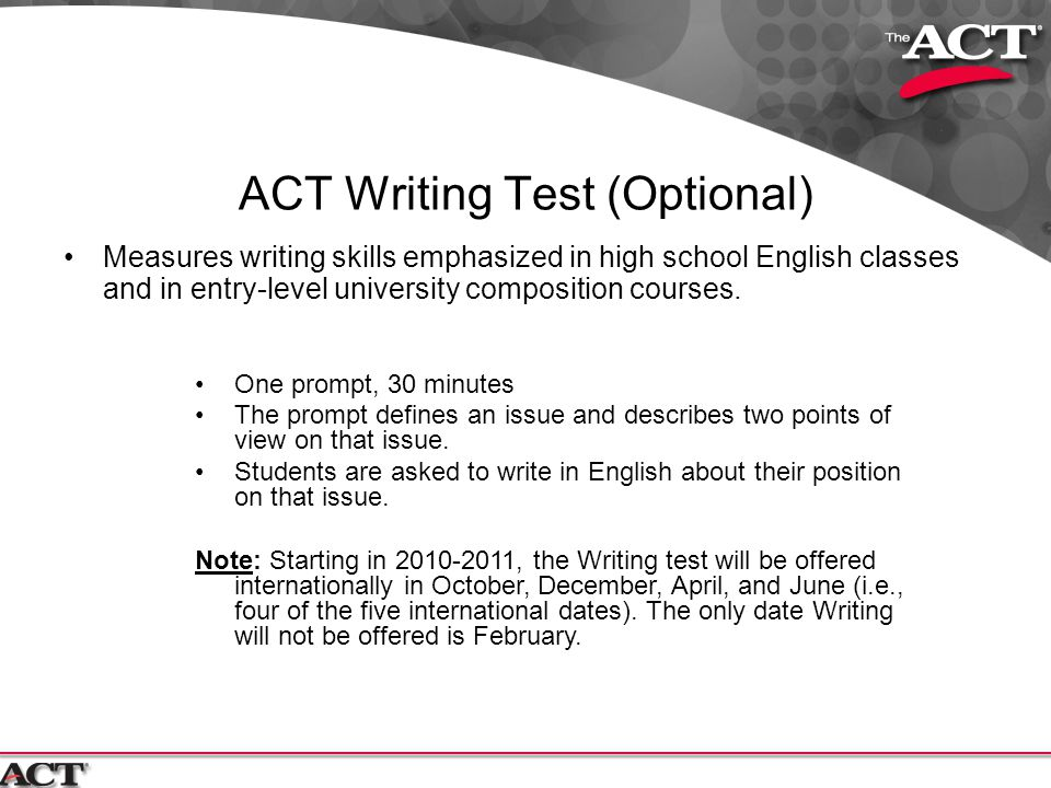 ACT Writing Test (Optional)