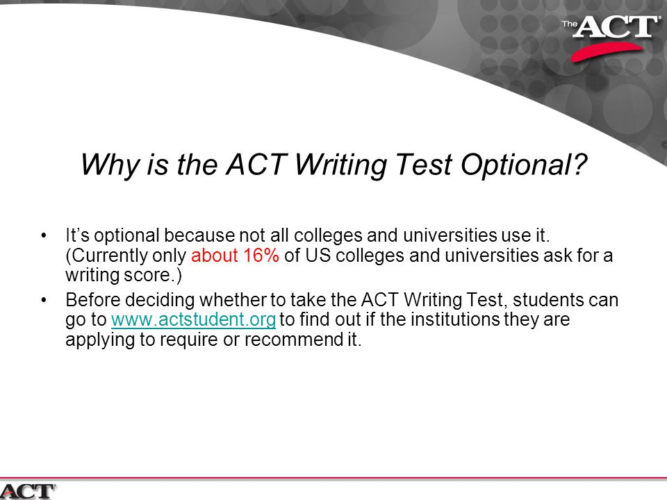Why is the ACT Writing Test Optional