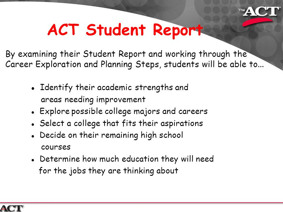 ACT Student Report Identify their academic strengths and