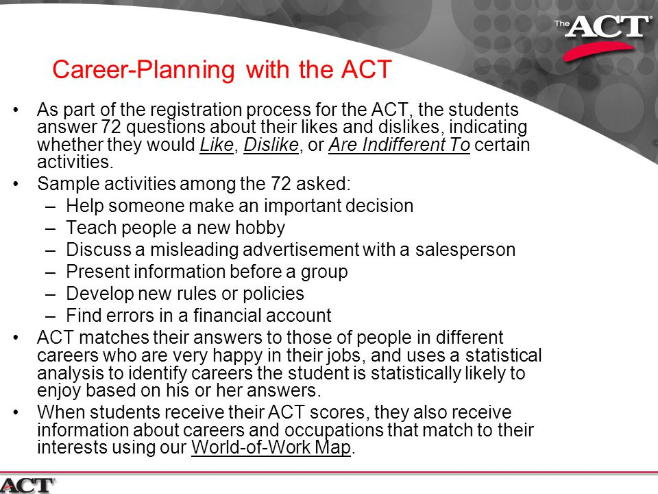 Career-Planning with the ACT