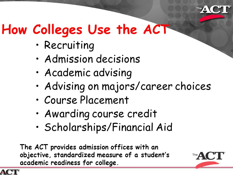 How Colleges Use the ACT