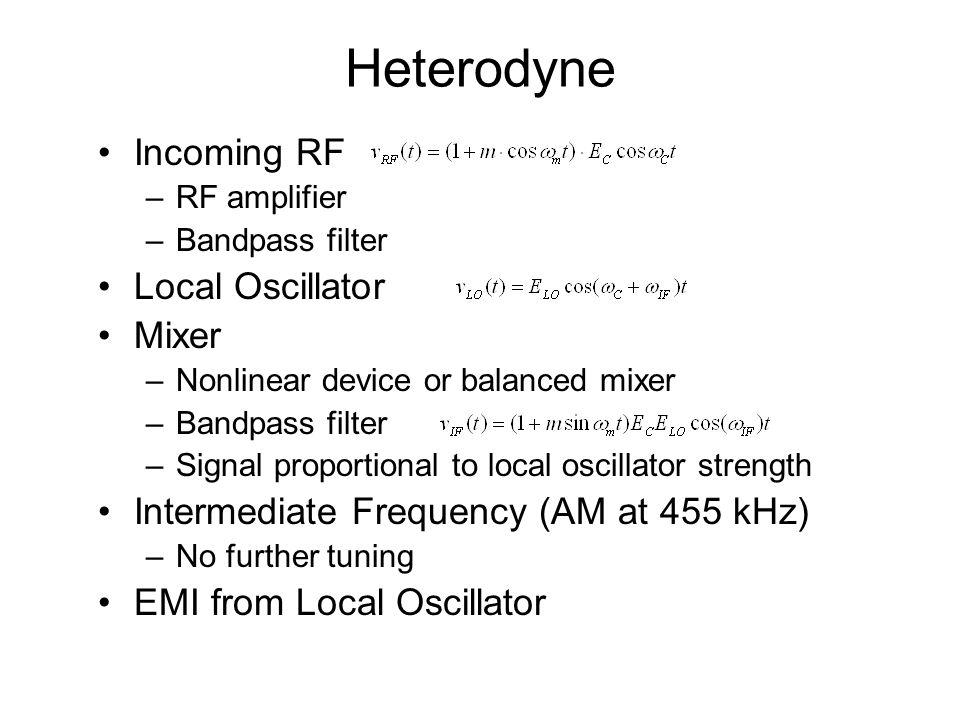 Heterodyne Incoming RF Local Oscillator Mixer