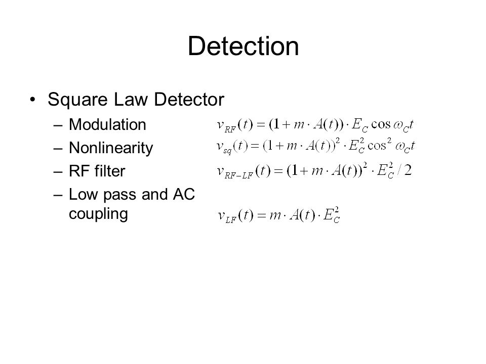 Detection Square Law Detector Modulation Nonlinearity RF filter