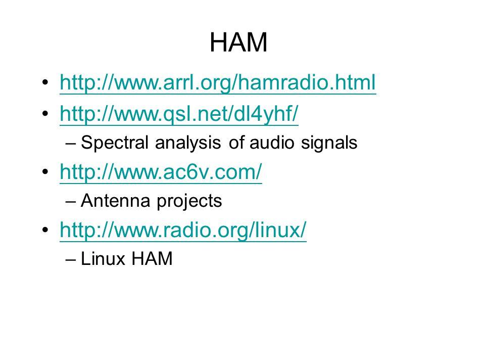 HAM http://www.arrl.org/hamradio.html http://www.qsl.net/dl4yhf/