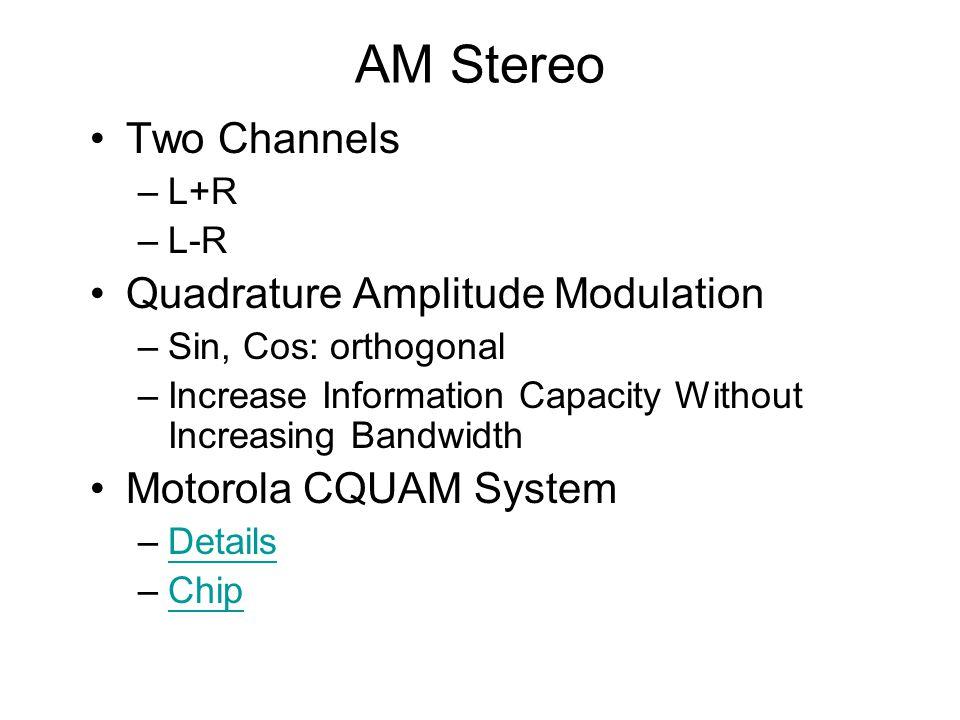 AM Stereo Two Channels Quadrature Amplitude Modulation