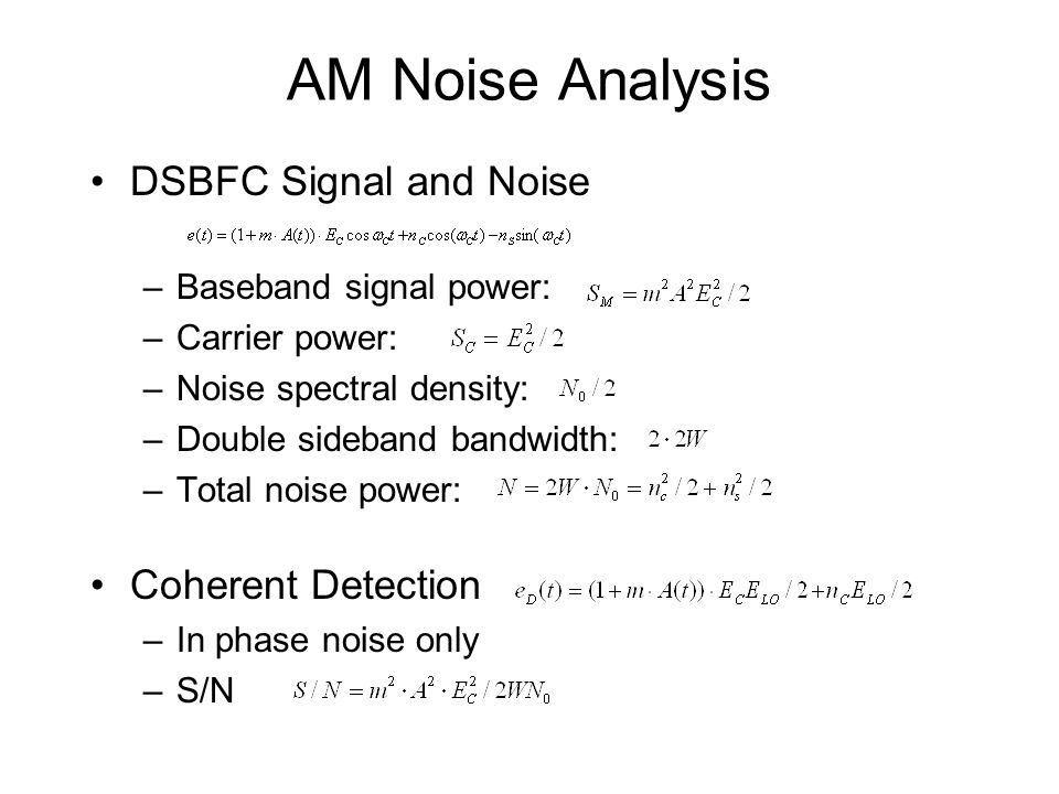 AM Noise Analysis DSBFC Signal and Noise Coherent Detection