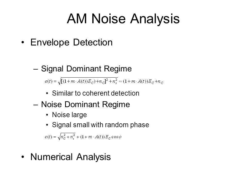 AM Noise Analysis Envelope Detection Numerical Analysis