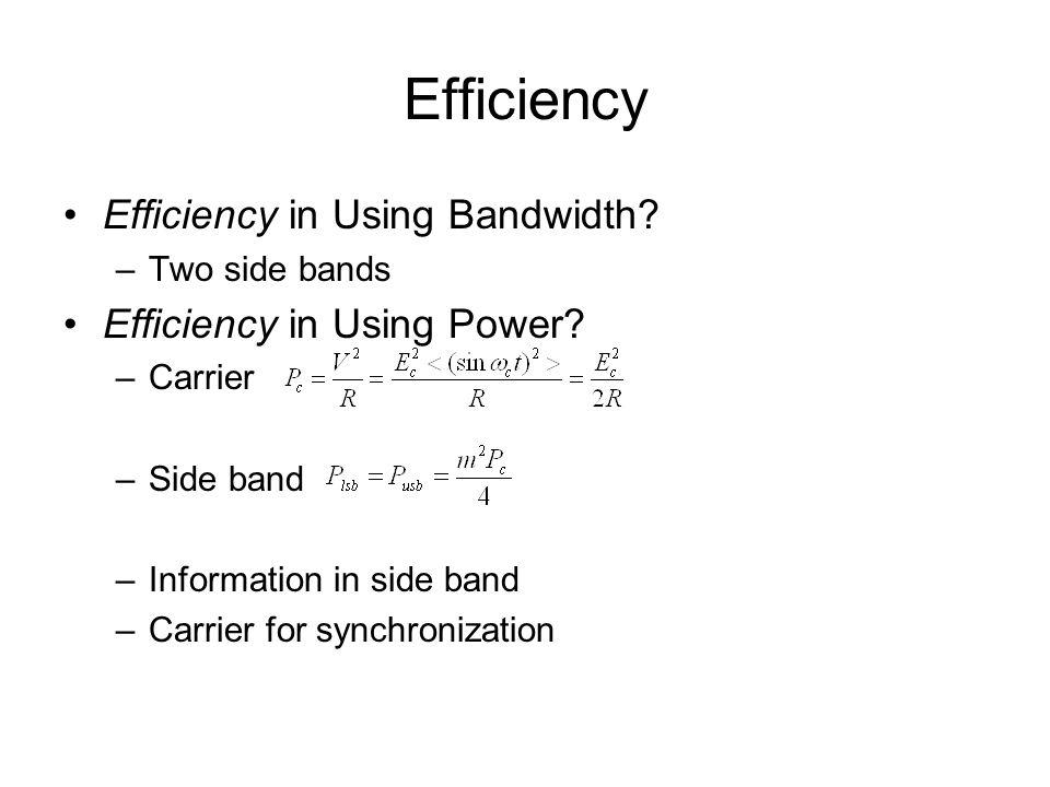 Efficiency Efficiency in Using Bandwidth Efficiency in Using Power