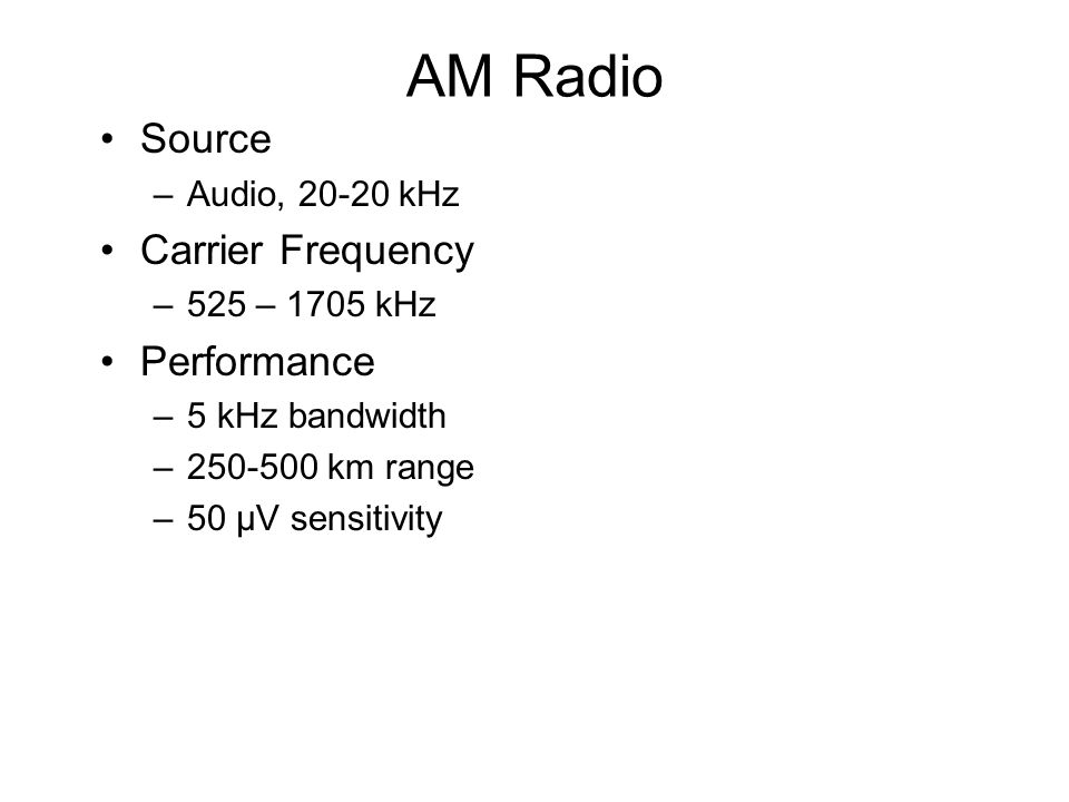 AM Radio Source Carrier Frequency Performance Audio, 20-20 kHz