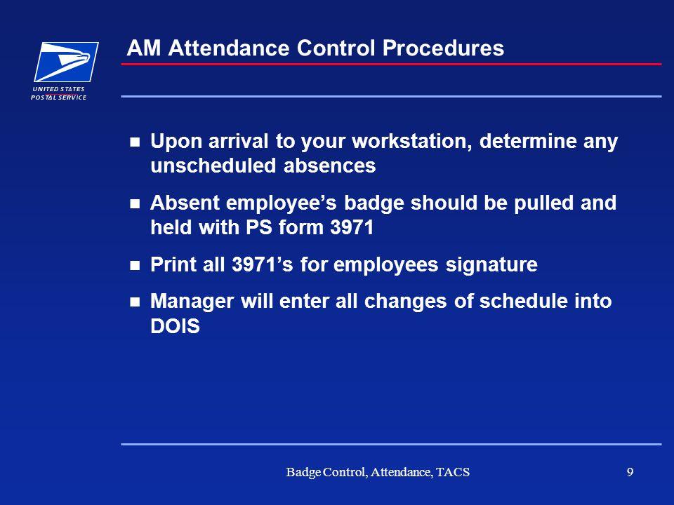 AM Attendance Control Procedures
