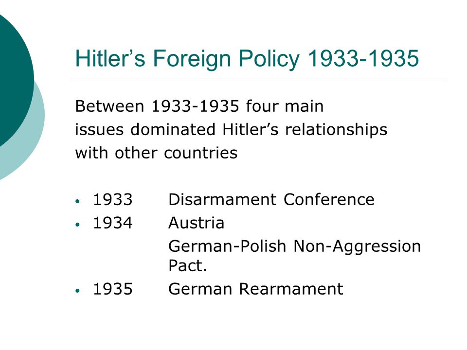 Hitler's Foreign Policy 1933-1935