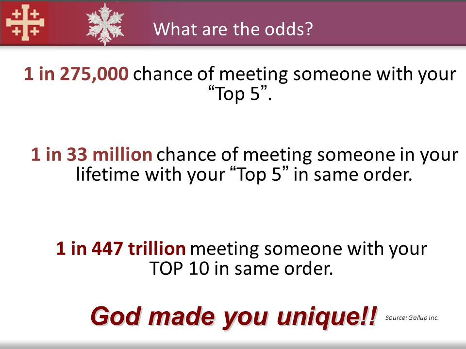 What are the odds 1 in 275,000 chance of meeting someone with your Top 5 .