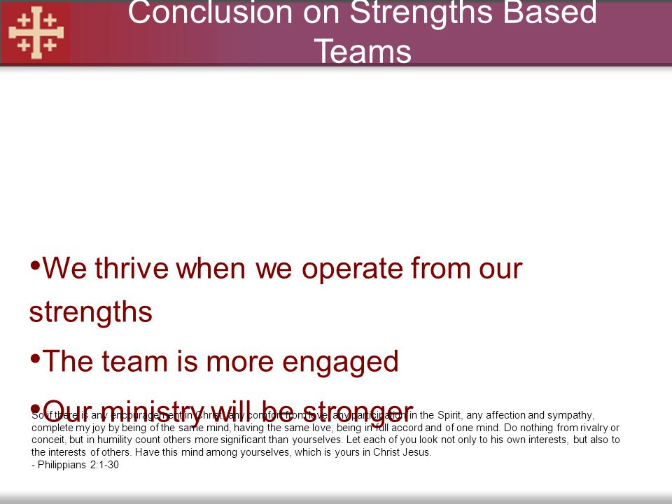 Conclusion on Strengths Based Teams