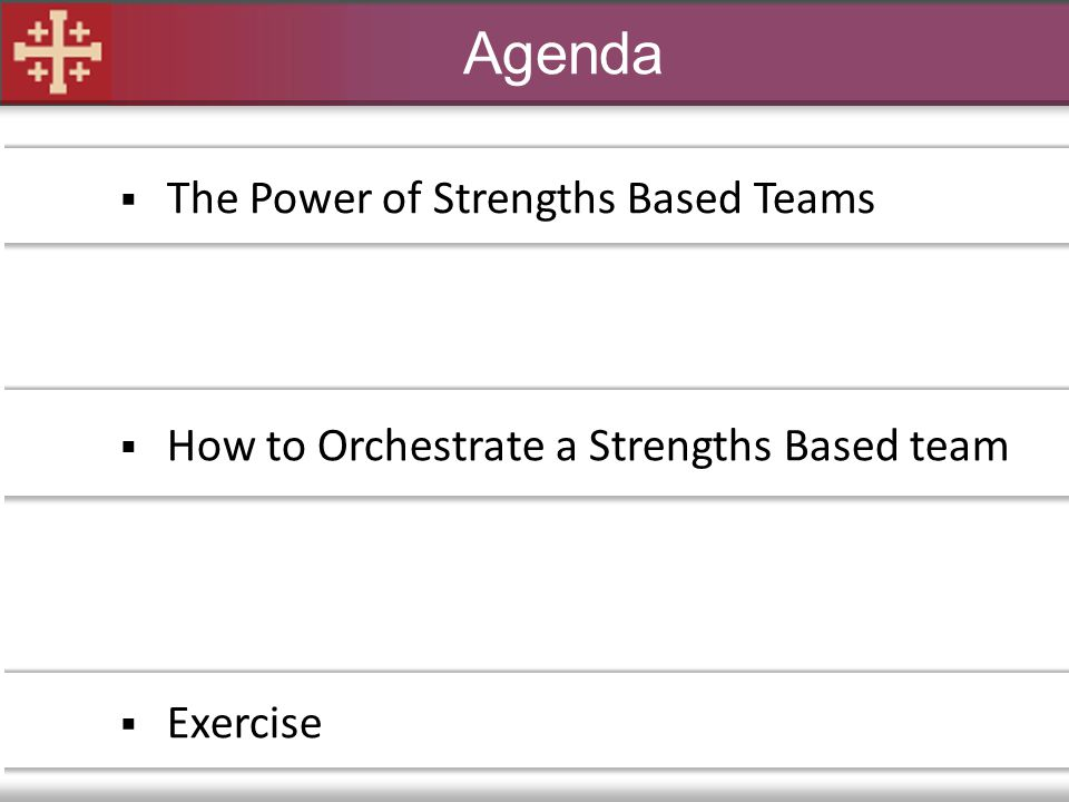 Agenda The Power of Strengths Based Teams