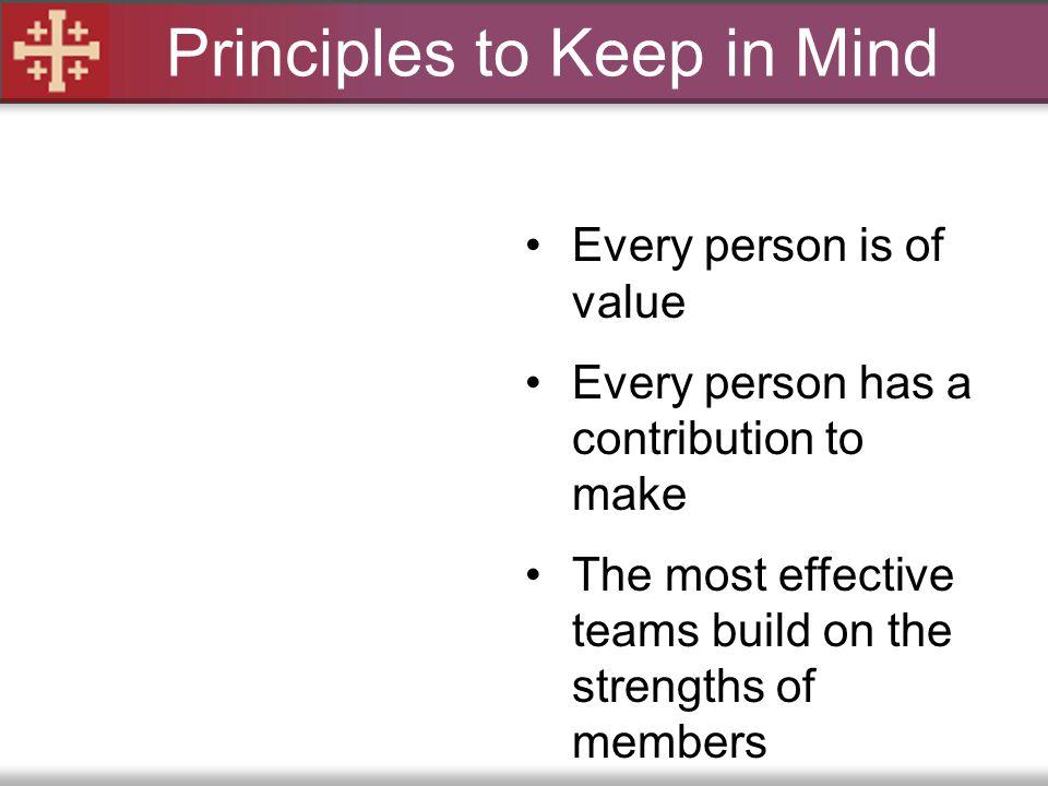 Principles to Keep in Mind