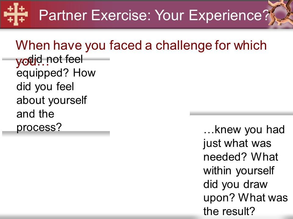Partner Exercise: Your Experience