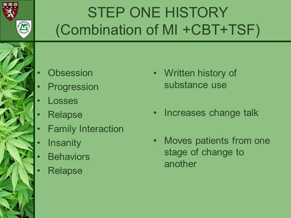 STEP ONE HISTORY (Combination of MI +CBT+TSF)