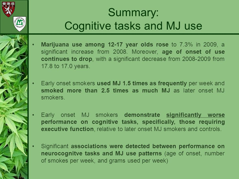 Cognitive tasks and MJ use