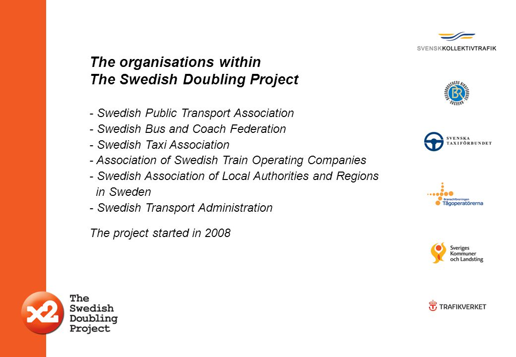 The organisations within The Swedish Doubling Project