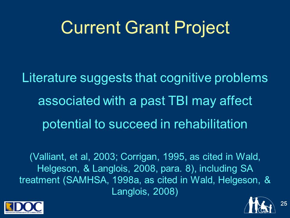 Current Grant Project Literature suggests that cognitive problems associated with a past TBI may affect potential to succeed in rehabilitation.