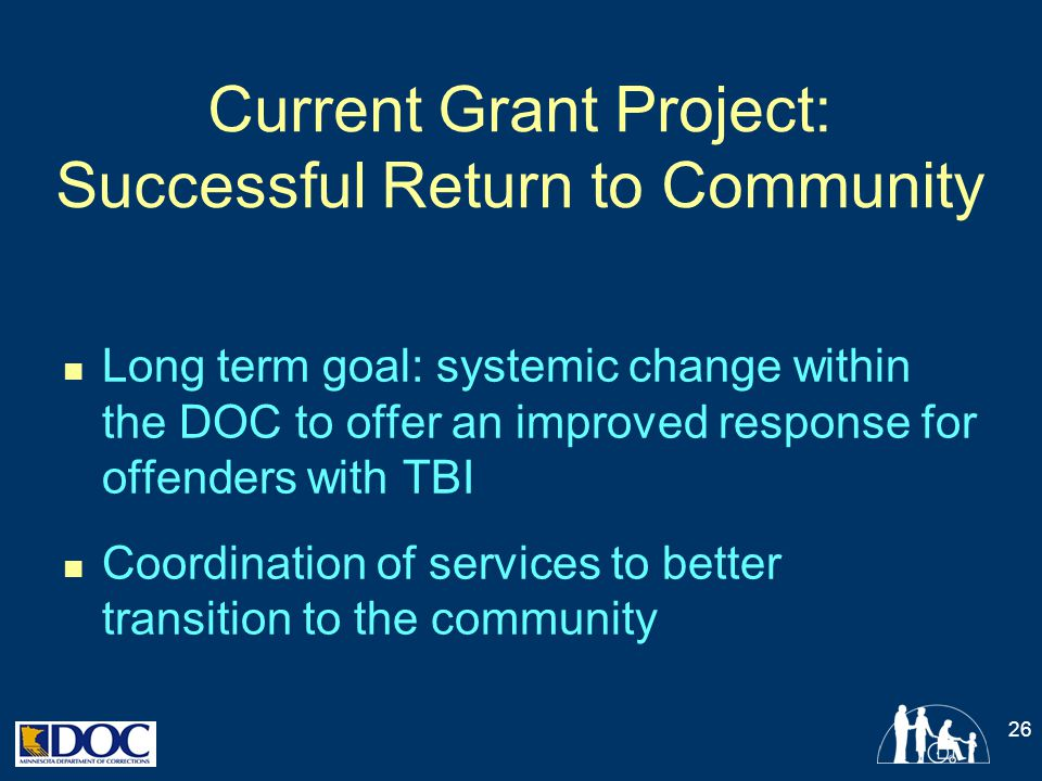 Current Grant Project: Successful Return to Community