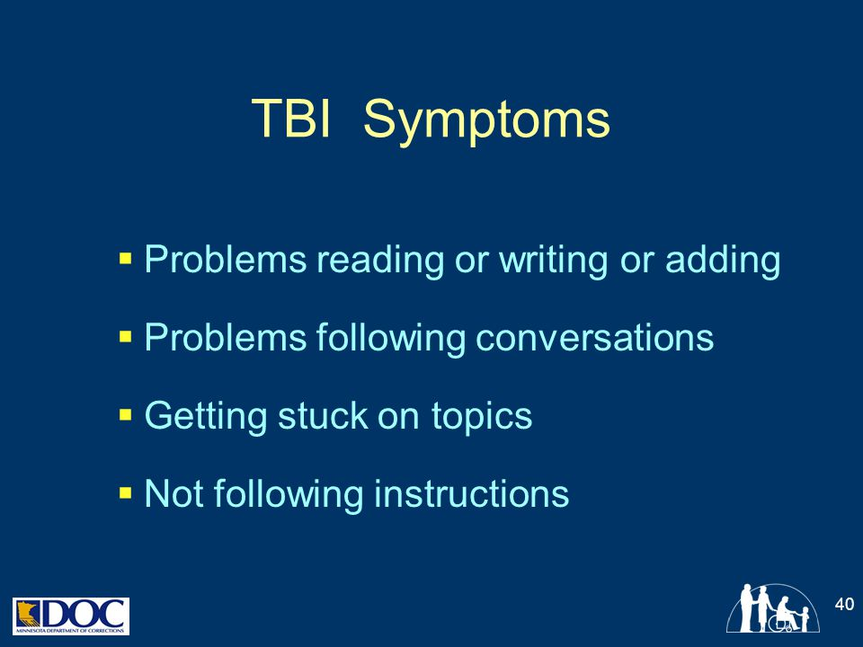 TBI Symptoms Problems reading or writing or adding