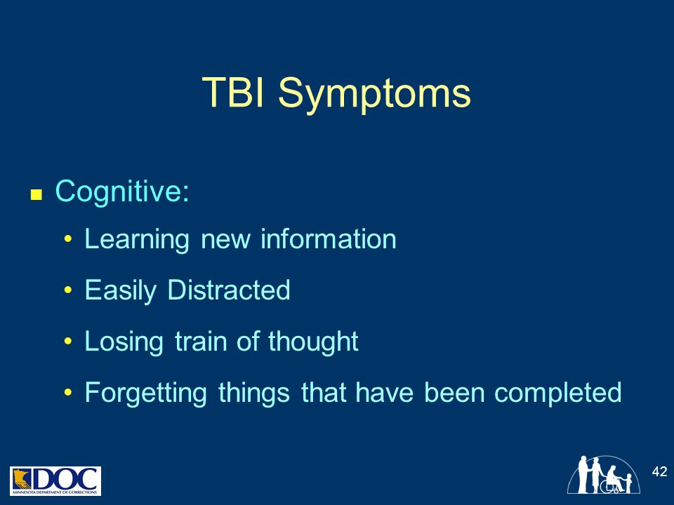 TBI Symptoms Cognitive: Learning new information Easily Distracted